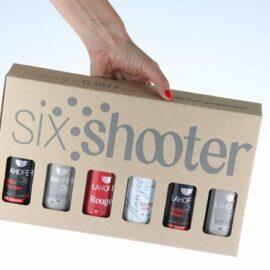 Six shooter - šesť-ranový set, nabitý lahodnými nábojmi s objemom 0,187 l